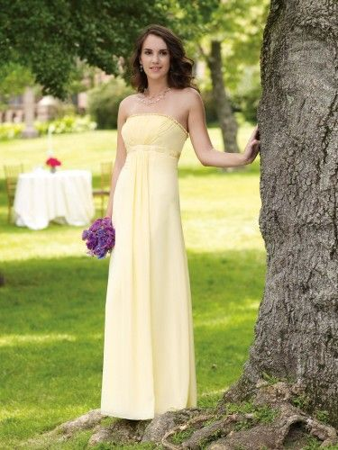 Chiffon Delicately Ruffled Neckline Directionally Ruched Bodice A-Line Bridesmaids Dress