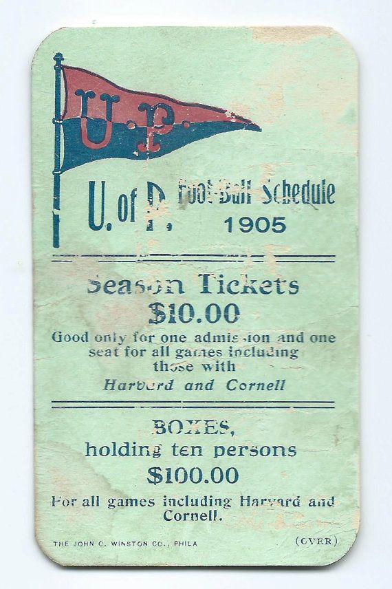 1905 University of Pennsylvania Football Pocket Schedule $125.00