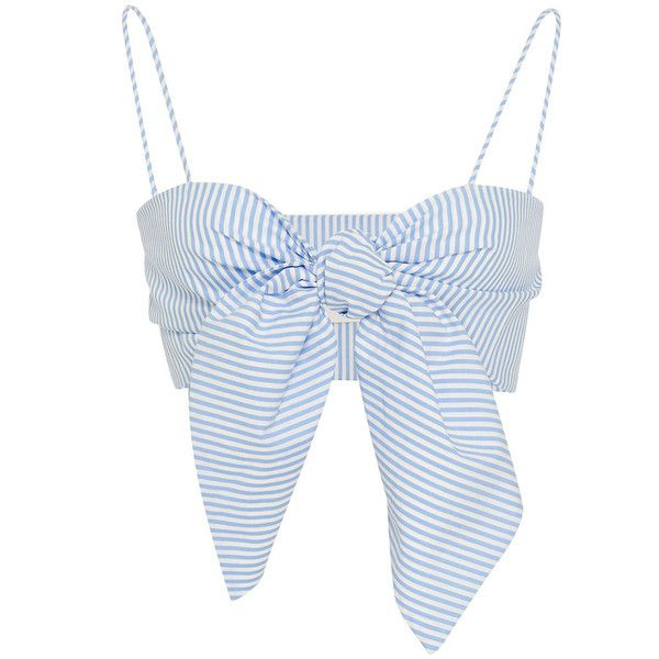 Leal Daccarett Anika Bralette Top (7.340 UYU) ❤ liked on Polyvore featuring tops, crop top, shirts, tank tops, blusas, stripe, white stripes shirt, white crop shirt, spaghetti strap tank top and white crop tank