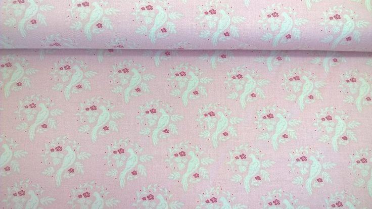 Stoff Tiermotive - Tilda Quilt Collection bird pink - ein Designerstück von Stoffe-guenstig-kaufen bei DaWanda