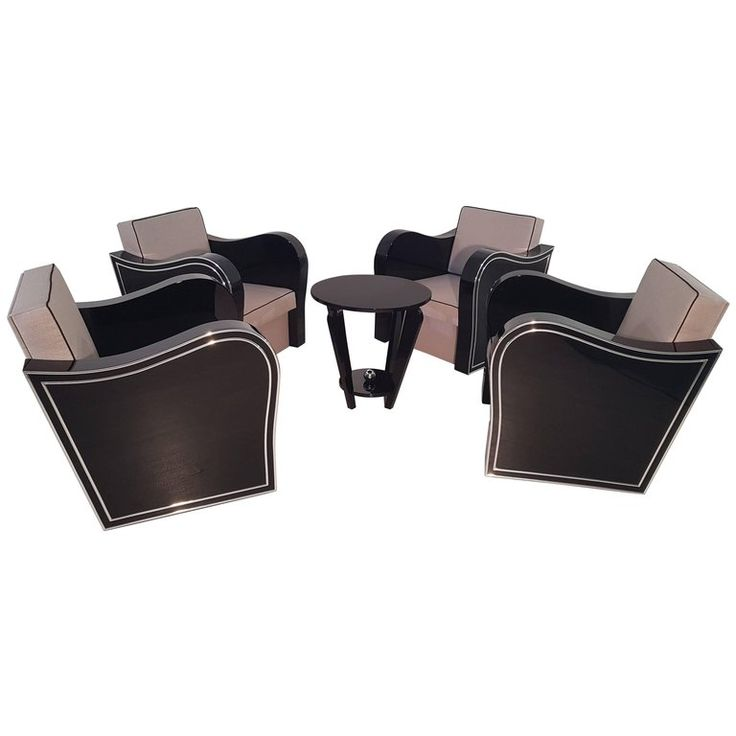 Set of Art Deco Armchairs | From a unique collection of antique and modern living room sets at https://www.1stdibs.com/furniture/seating/living-room-sets/