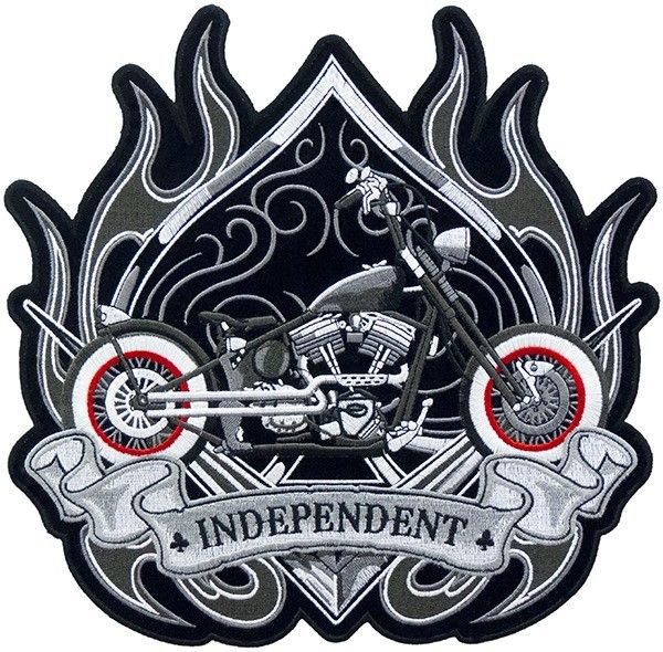 Independent Spade Vintage Motorcycle Patch, Back Patches
