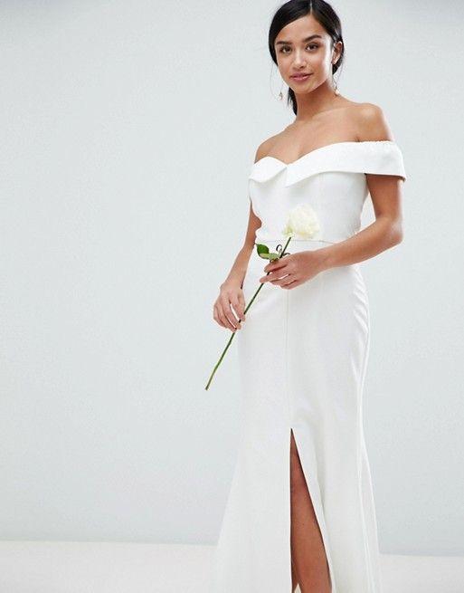 66417110b927 Jarlo Petite Bardot Maxi Dress With Thigh Split And Train Detail | Creative black  tie | Strapless dress formal, Dresses, Fashion