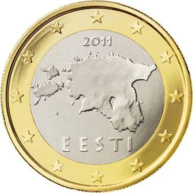 ESTONIA 1 Euro: Mappa dell'Estonia con l'anno di conio al di sopra di essa e la scritta EESTI (Estonia) al di sotto. Intorno 12 stelle a cinque punte rappresentanti l'Unione Europea. Autore: Lembit Lõhmus.