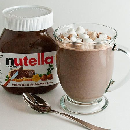 Nutella Hot Chocolate: 1 cup milk. 2 spoons nutella. Saucepan. Heat medium. Blend. Whisk frothy. Can't wait to try!