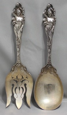 LOVE DISARMED by REED & BARTON STERLING SILVER OVERSIZED SALAD SERVING SET C1900