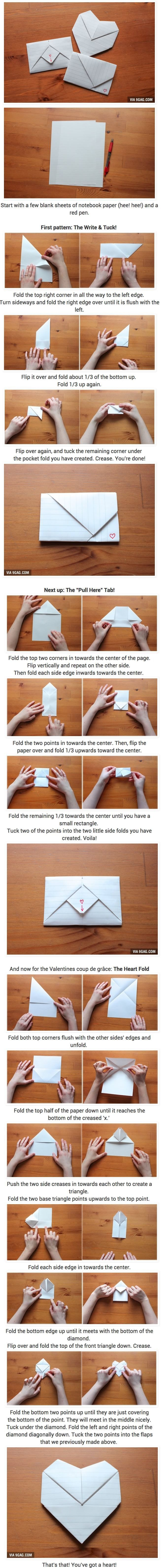 Make It: Folded Love Letter - Tutorial #origami #papercrafts #valentinesday #love