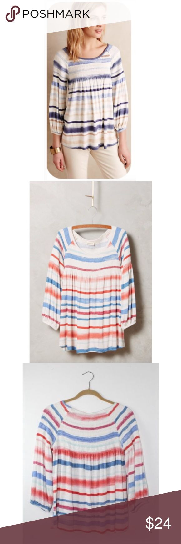 """Meadow Rue Anthro Striped Smocked Peasant Blouse Meadow Rue Anthropologie Striped Smocked Peasant Blouse, Size Medium, Silky rayon-spandex jersey, cotton trim, Elastic cuff, Pullover styling, Machine wash, 3/4 Sleeve, Length approx. 27"""", Pre owned great condition! Anthropologie Tops Blouses"""
