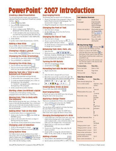 Microsoft PowerPoint 2007 Introduction Quick Reference Guide (Cheat Sheet of Instructions, Tips  Shortcuts - Laminated Card)