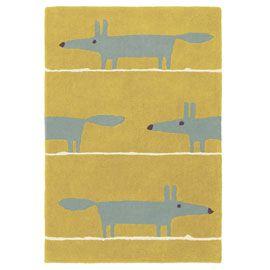 Scion Mr Fox Mustard Rug - 333402 - Mr Fox Mustard Rug 90 x 150cm Special Order