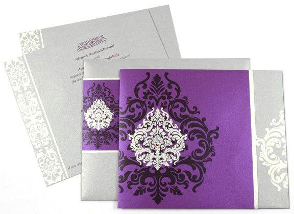 Purple & Silver Wedding Cards by @Cardeva