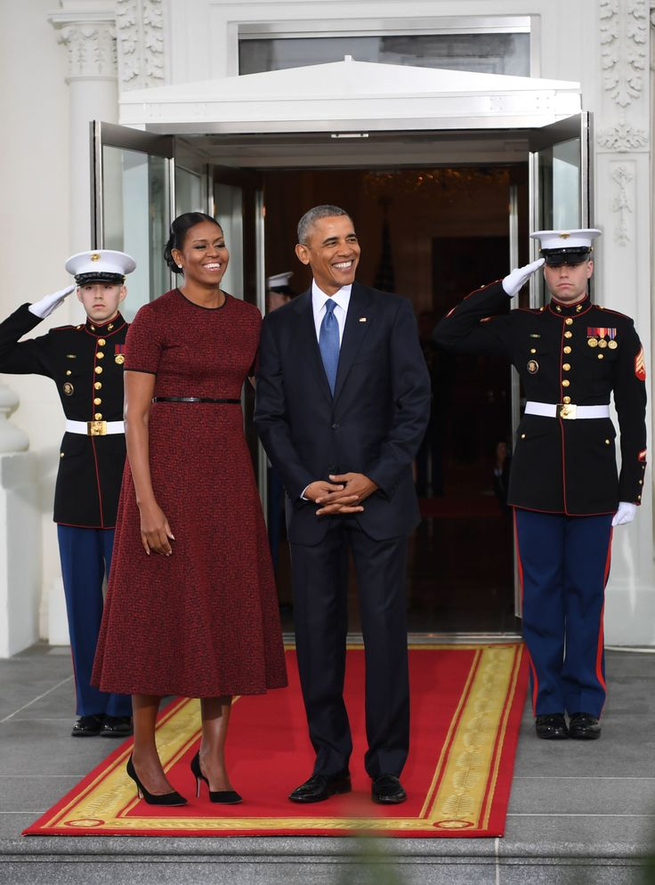 First Lady Michelle Obama Wears Red for the Inauguration, red short-sleeved, belted Jason Wu dress, 2017
