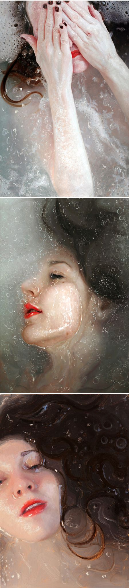 Oil paintings {yes, paintings!} by New York based artist Alyssa Monks – I am in complete awe, I am a little bit scared, and I am kinda in the mood for a bath… while wearing red lipstick. Hm, or perhaps a steamy shower instead: