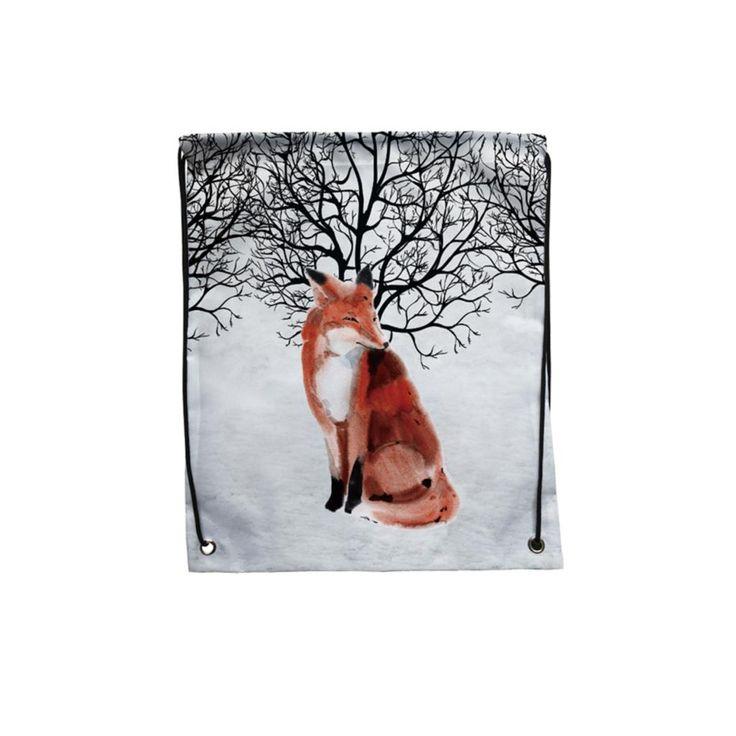 Упаковка из 4 снег лес акварель фокс печать пользовательские отдельные открытый тренажерный зал хранения обуви сумка шнурок рюкзак