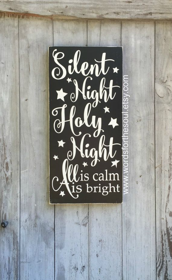 11 x 18 Silent Night Holy Night ALL is Calm All is Bright Christian Christmas Sign Typography Scripture Subway Art Wooden Sign Jesus Star Christmas