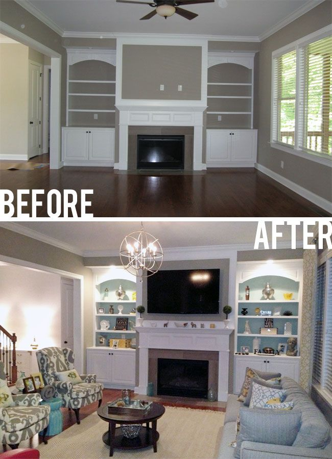 paint the back of the built-ins blue and turn the sofa this way