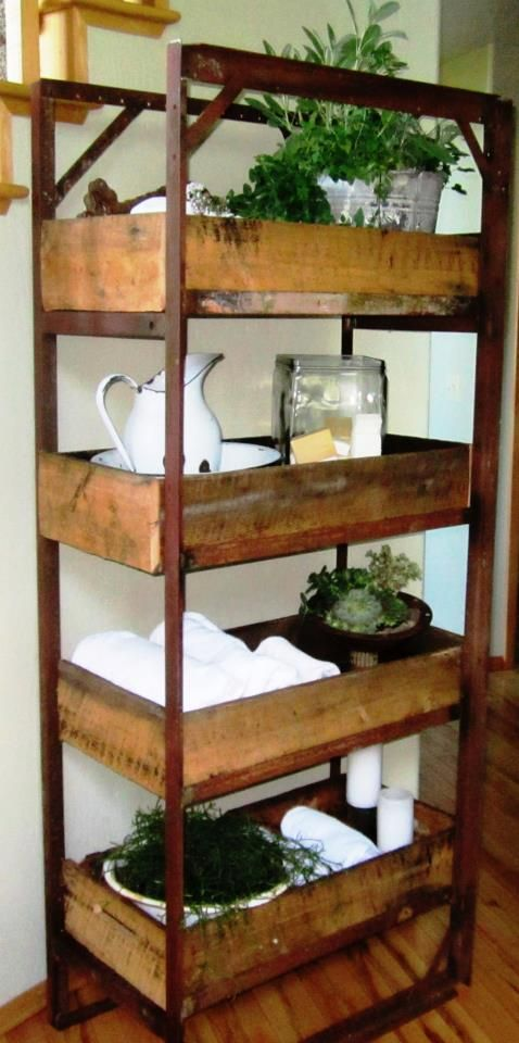 A shelf made from old bed frames..