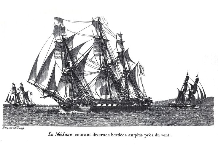 """""""Pallas""""-class frigate """"La Méduse"""" sailing close hauled with brigs in the background - a few years before she became Géricault's famous raft"""