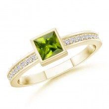 Solitaire Bezel Square Peridot and White Sapphire Promise Ring