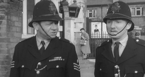 Sid James and Leslie Phillips outside Hanwell Library in Carry On Constable