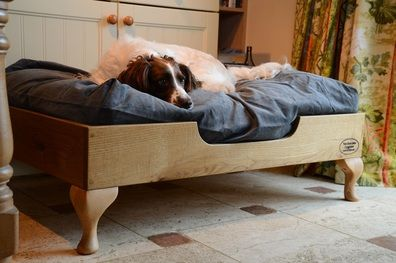 pine wooden raised dog bed