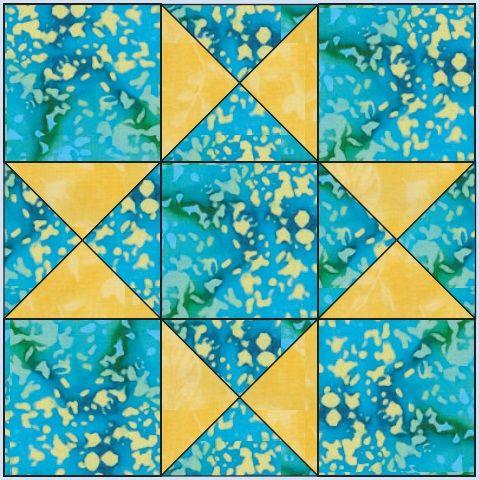 9-inch Aunt Eliza's Star block from Quilter's Block-a-Day Calendar
