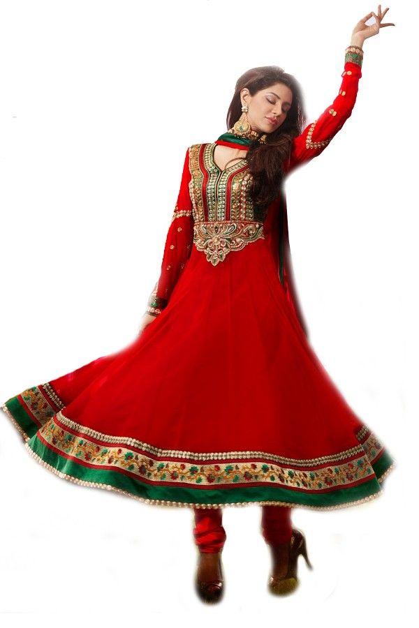 Shop Now http://valehri.com/salwar-kameez/925-red-georgette-salwar-kameez-with-dupatta.html