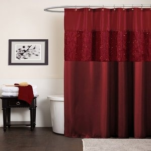 More beige and brown with red shower curtain... great idea!