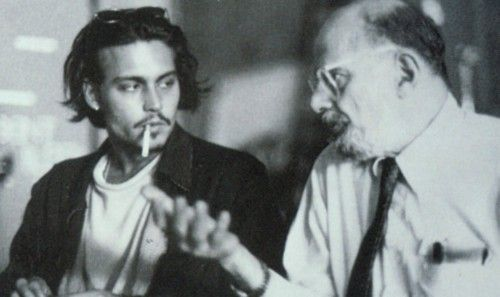 """Johnny Depp and Allen Ginsberg. Johnny remembers Allen, and the beat generation writers, http://johnny-depp.org/1999/07/08/the-night-i-met-allen-ginsberg/     """"Kerouac, Ginsberg, the Beats and Other Bastards Who Ruined My Life""""    by Johnny Depp  The Rolling Stone Book of the Beats  First published in Rolling Stone Magazine July 22, 1999  1999"""