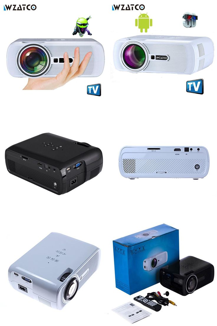 [Visit to Buy] WZATCO 1800Lumen Android Wifi Bluetooth Multifunction LED home cinema digital beamer LCD 3D TV pocket smart projectors proyector #Advertisement