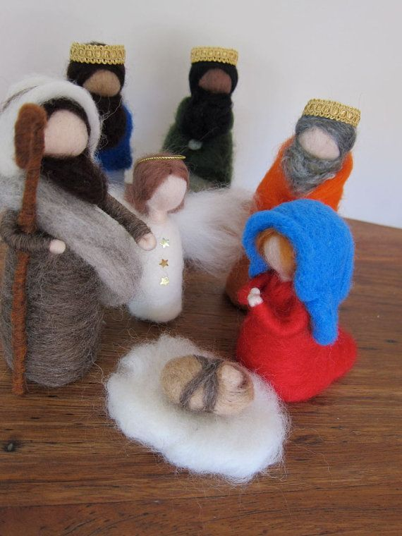 Complete Holy family, felt nativity set, Montessori-Waldorf inspired by FeltandGrain on Etsy, $130.00