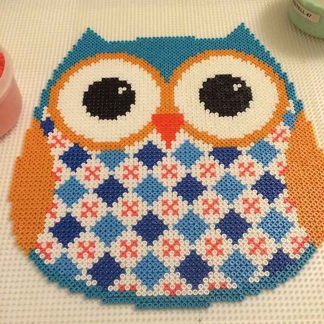 Owl perler bead art by David Nilsson - Bead Artist
