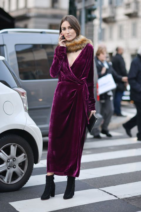 Velvet is arguably the trend of the season—anda vintage fur collar takes the look to even more dramatic territory.