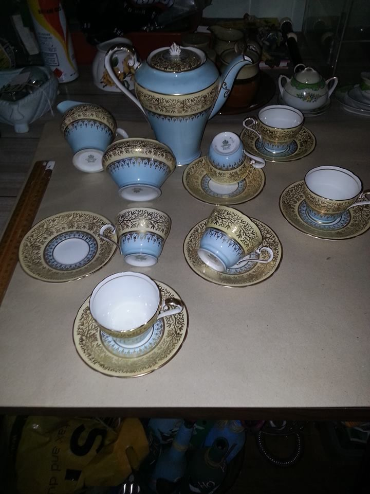 Aynsley England. Fine bone china coffee set. Picture from the album here. https://www.facebook.com/media/set/?set=oa.830593693627679&type=1