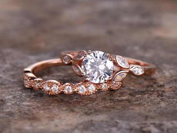 2pcs set de anillo de bodas! 6,5 mm ronda CZ anillo 925 anillo de bodas de plata, anillo nupcial 8 dientes, bisel de Marquesa, chapado en oro color de rosa