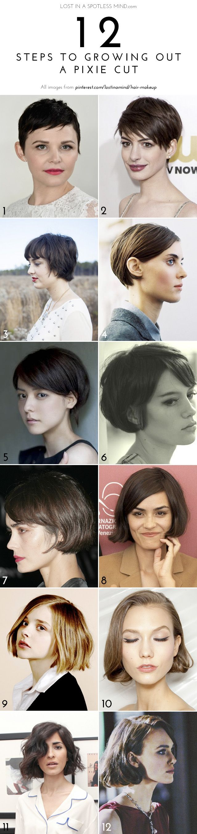 The growing out a pixie plan | My goal is #4. But then she has one length ALL-OVER & I want layers in the back and top.