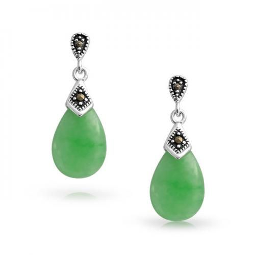 Art Deco Jade Teardrop Dangle Earrings Marcasite Sterling Silver