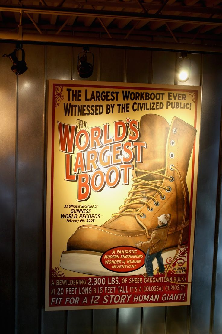 Red Wing Shoe's World's Largest Boot sign celebrating made in USA in Red Wing, Minnesota.