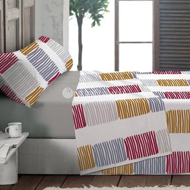 Juego de Sábanas CLARA La Marioneta. Presenta un estampado con diversas rayas de colores, ideal para vestir tu cama de una forma moderna pero a la vez sencilla. Está disponible en rojo o verde