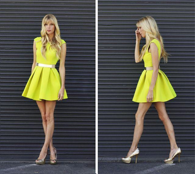 Neon dress with metallic belt & glitter pumps