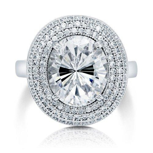 Oval Cut Cubic Zirconia CZ Sterling Silver Halo Cocktail Ring