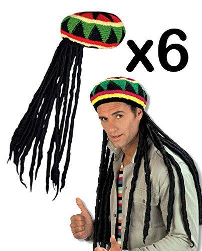 07e33474ef0 Rasta Caps With Dread Locks Hat Hair Jamaican Costume Bob Sc 1 St Meningrey