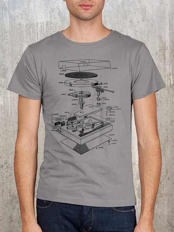 Men's Tshirt of Vinyl Turntable Explosion Diagram - Men's Small, Medium, Large, XL and 2XL Available on Etsy, $22.50