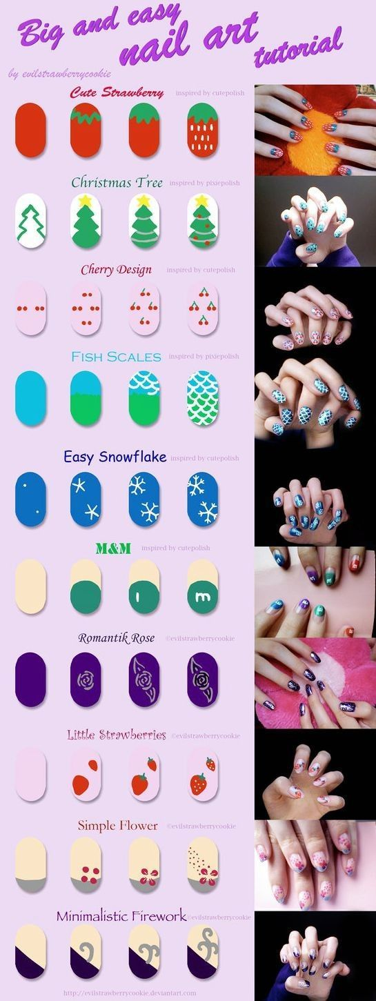 big and easy nail art tutorial by ~evilstrawberrycookie on deviantART