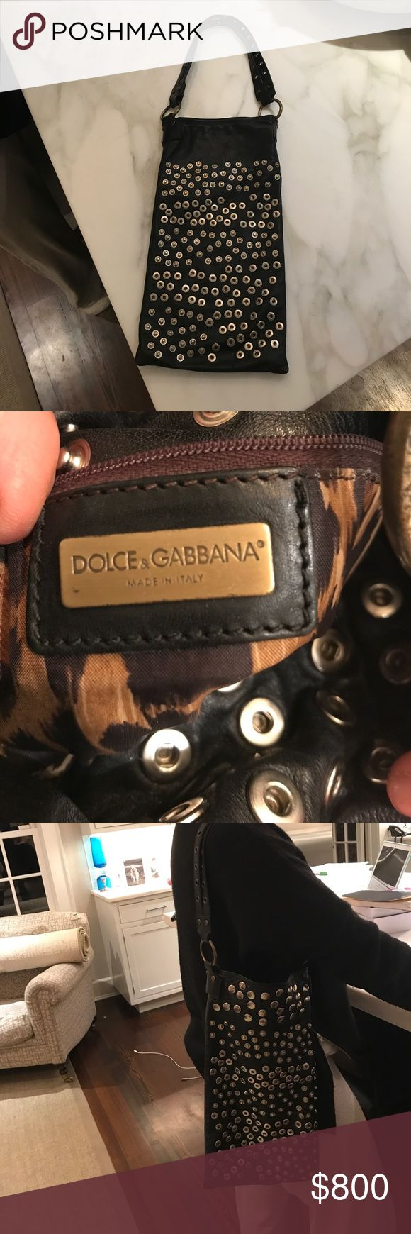 Dolce and Gabbana over the shoulder purse Trendy and funky purse from a runway show. Lightly worn. Leopard lining Dolce & Gabbana Bags Shoulder Bags