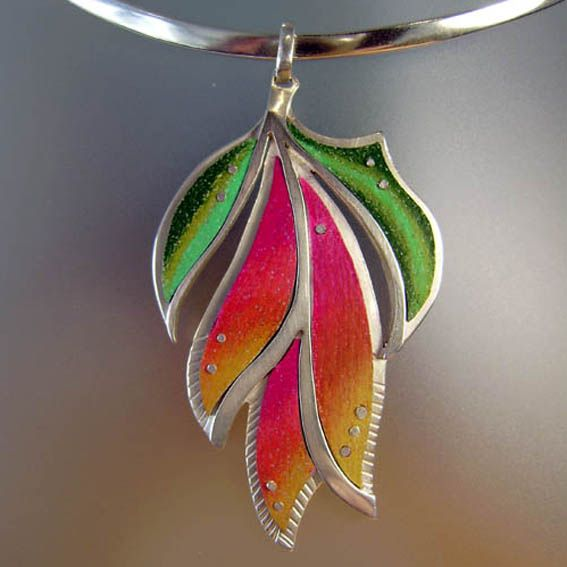 My first attempt at using Prismacolor pencils to add colour to a pendant. From 2010.