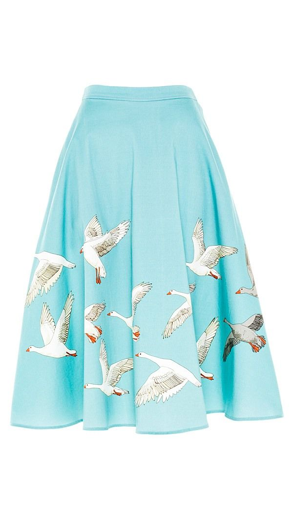 The Jane - Geese in Flight Skirt - BOB by Dawn O'Porter - Vintage Styled Skirts