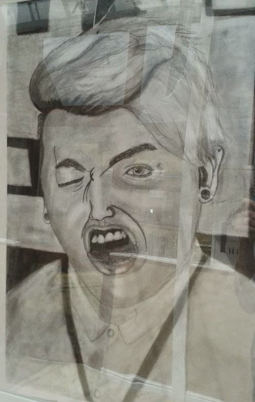 Pencil drawn 'selfie' with a great expression