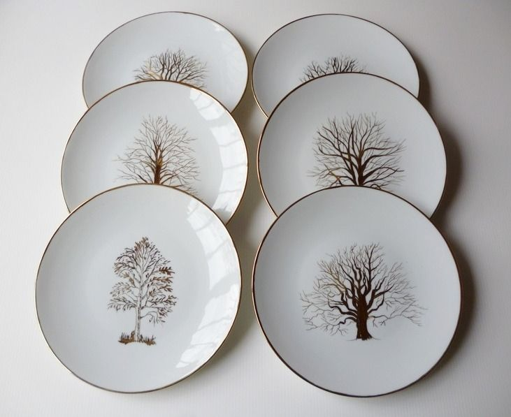 petites assiettes dessert en porcelaine les arbres dor s vaisselle verres par pascale. Black Bedroom Furniture Sets. Home Design Ideas