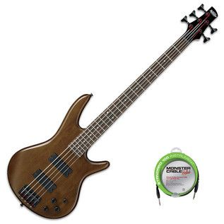 Ibanez GSR205B Gio 5-String Bass Guitar, Walnut Flat + FREE Cable at Gear4Music.com